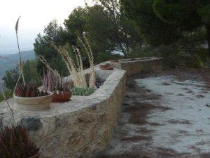 planters on stone margins